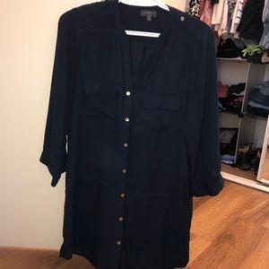 Navy Blue Dress Blouse